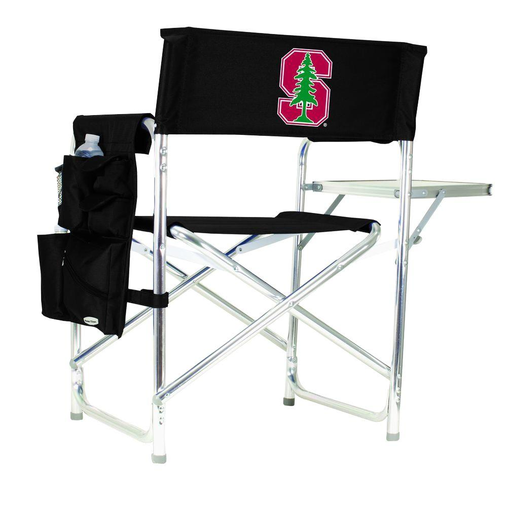 Picnic Time Stanford University Black Sports Chair with Digital Logo