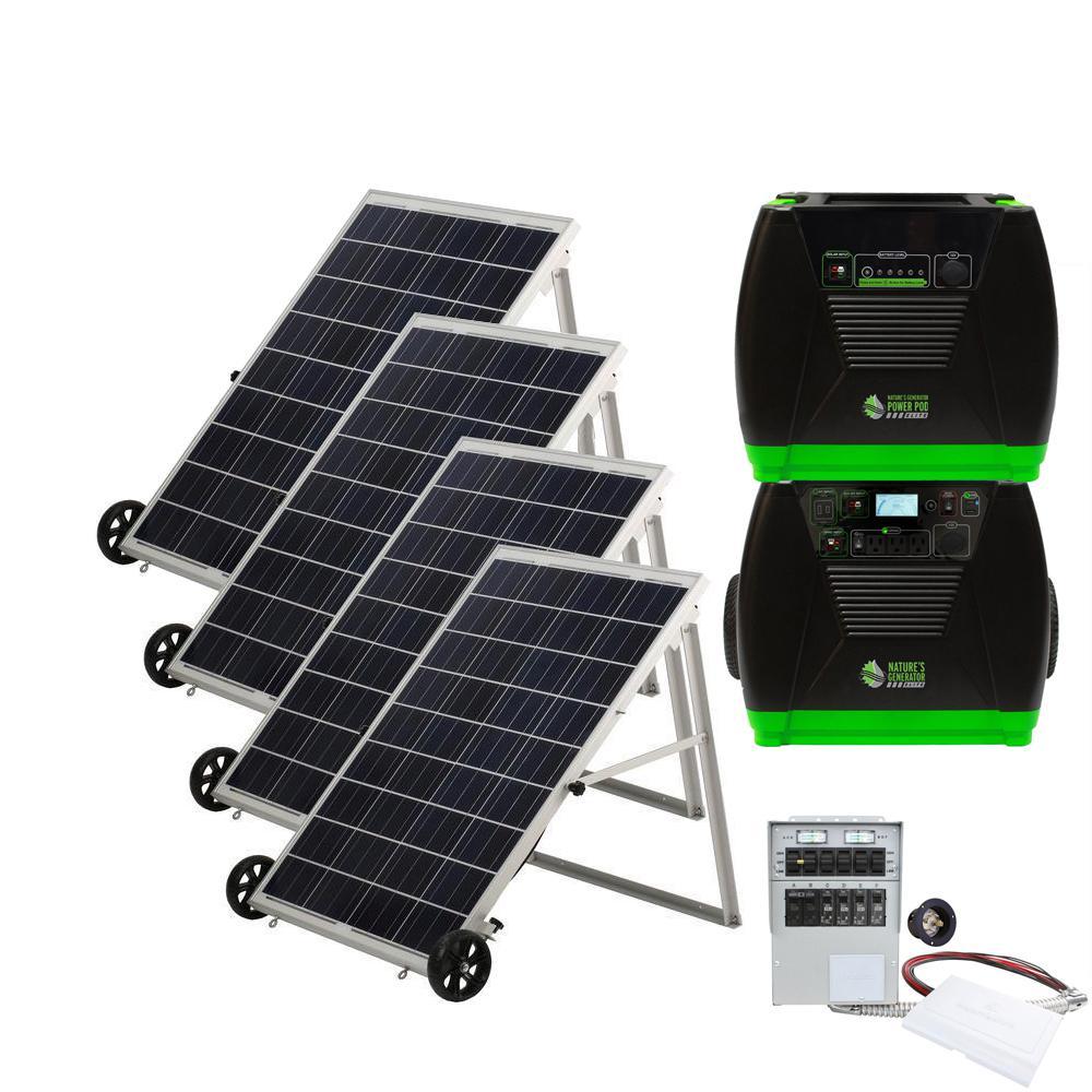 3600-Watt Solar Electric Start Powered Portable Generator with Power Pod, Power Transfer Kit, and Solar Panels
