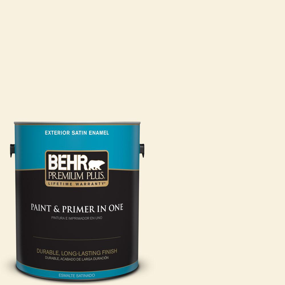 BEHR Premium Plus 1-gal. #P350-1 Bit of Lime Satin Enamel Exterior Paint, Yellows/Golds