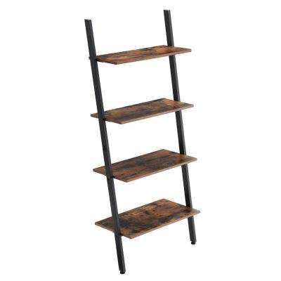 Rustic Brown and Black Ladder Style Iron Bookcase with 4 Wooden Shelves