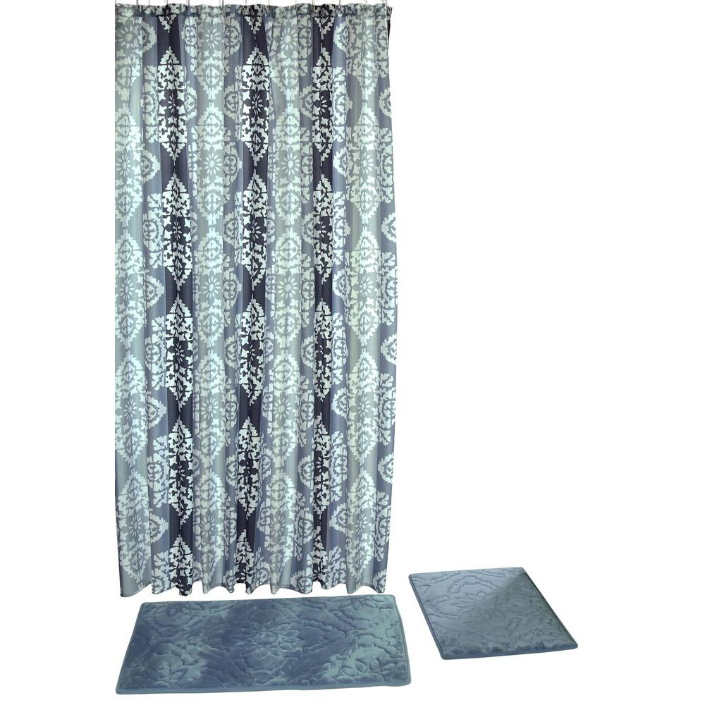 Chesapeake Merchandising Cosmo Blue 15-Piece Shower Curtain Set ...