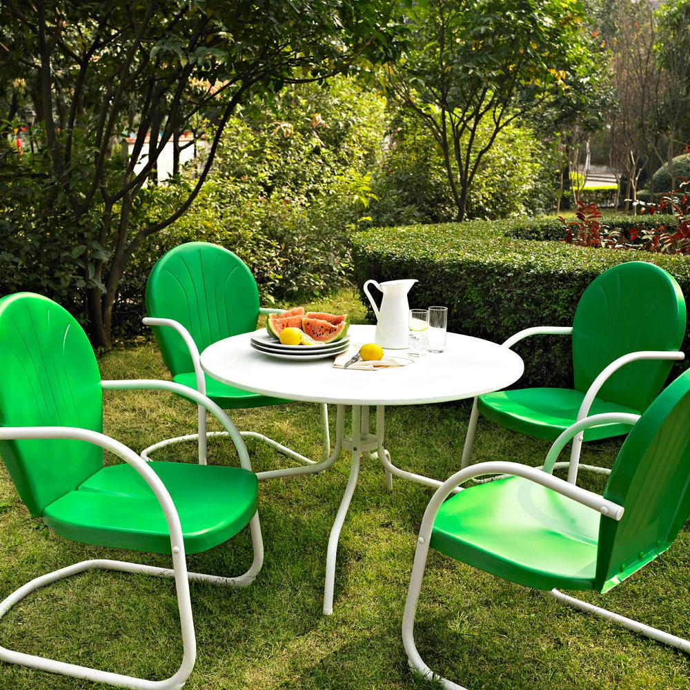 Griffith 5 piece metal outdoor dining set 39 in dining table in white with grasshopper green chairs