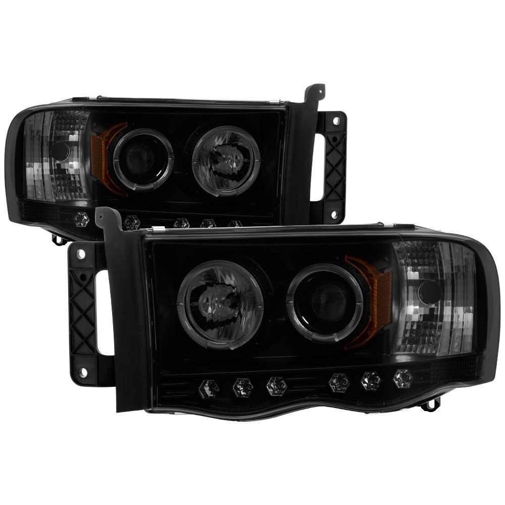 Dodge Ram 1500 02 05 2500 3500 03 Projector Headlights Led Halo Replaceable Leds Black Smoke