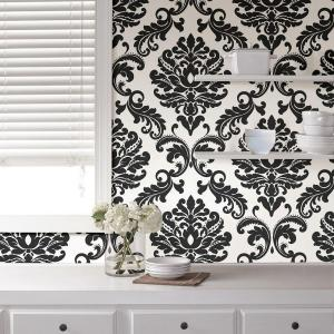 Nuwallpaper 3075 Sq Ft Ariel Black And White Damask Peel And