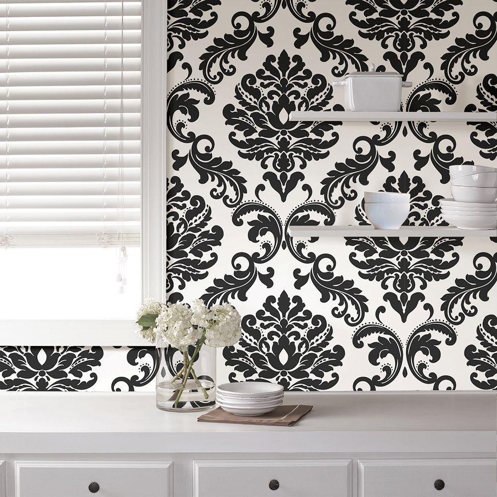 NuWallpaper Ariel Black and White Damask Peel and Stick Wallpaper Sample