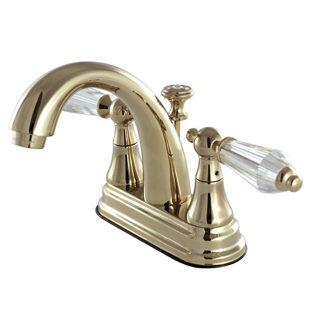 English Crystal 4 in. Centerset 2-Handle Bathroom Faucet in Polished Brass