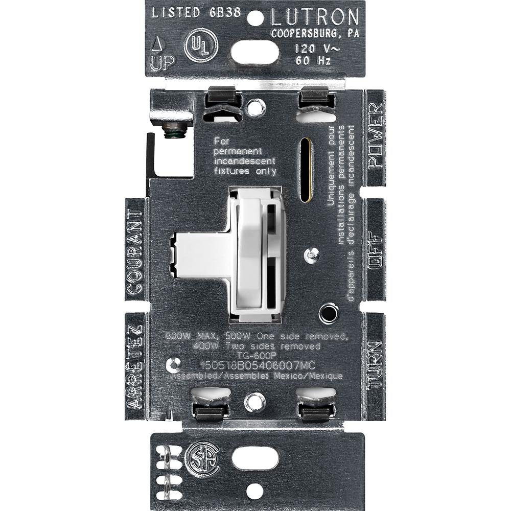Lutron Vierti VT-LED-B-BR 600w BROWN Touchbar BLUE LED Touch Dimmer Light Switch
