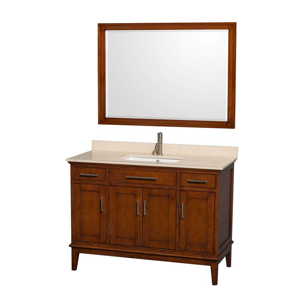 Wyndham Collection Hatton 48 in. Vanity in Light Chestnut with Marble Vanity Top in Ivory, Square Sink and 44 in. Mirror