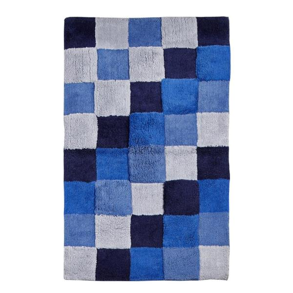 Tiles Blue 24 in. x 40 in. and 17 in. x 24 in. Bath Rug Set (2-Piece)