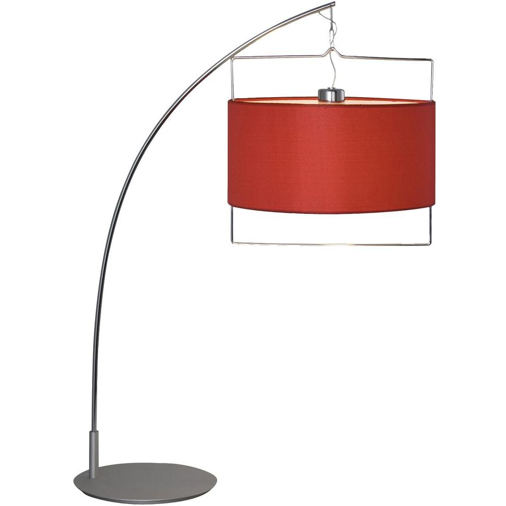Oriax 31.5 in. Satin Nickel/Polished Chrome Table Lamp with Red Fabric Shade-DISCONTINUED