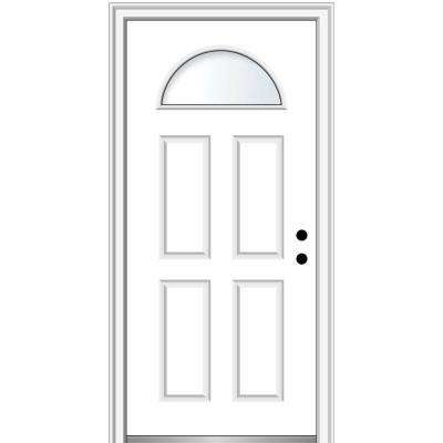 32 in. x 80 in. Classic Left-Hand Inswing 1/4-Lite Clear 4-Panel Primed Steel Prehung Front Door on 6-9/16 in. Frame