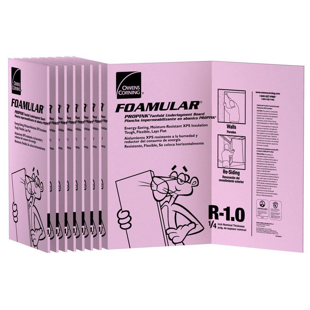 Owens Corning Foamular 1 4 In X 4 Ft X 50 Ft R 1 Fanfold Rigid Foam Board Insulation Sheathing 21um The Home Depot