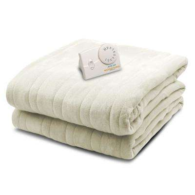 1001 Series Comfort Knit Heated 72 in. x 84 in. Natural Full Size Blanket