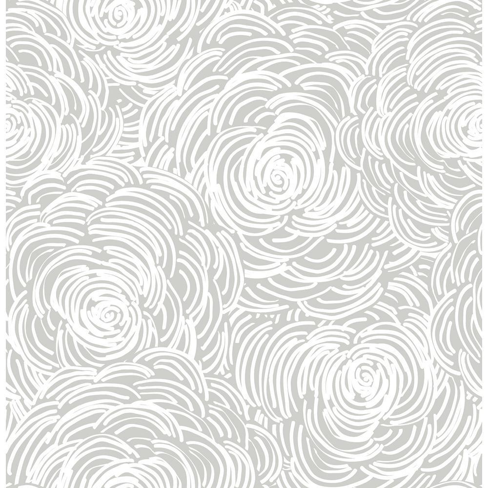A-Street Celestial Grey Floral Wallpaper Sample 2716-23832SAM