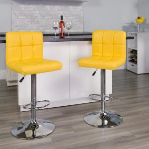 Awesome Flash Furniture 34 In Adjustable Height Yellow Cushioned Ibusinesslaw Wood Chair Design Ideas Ibusinesslaworg