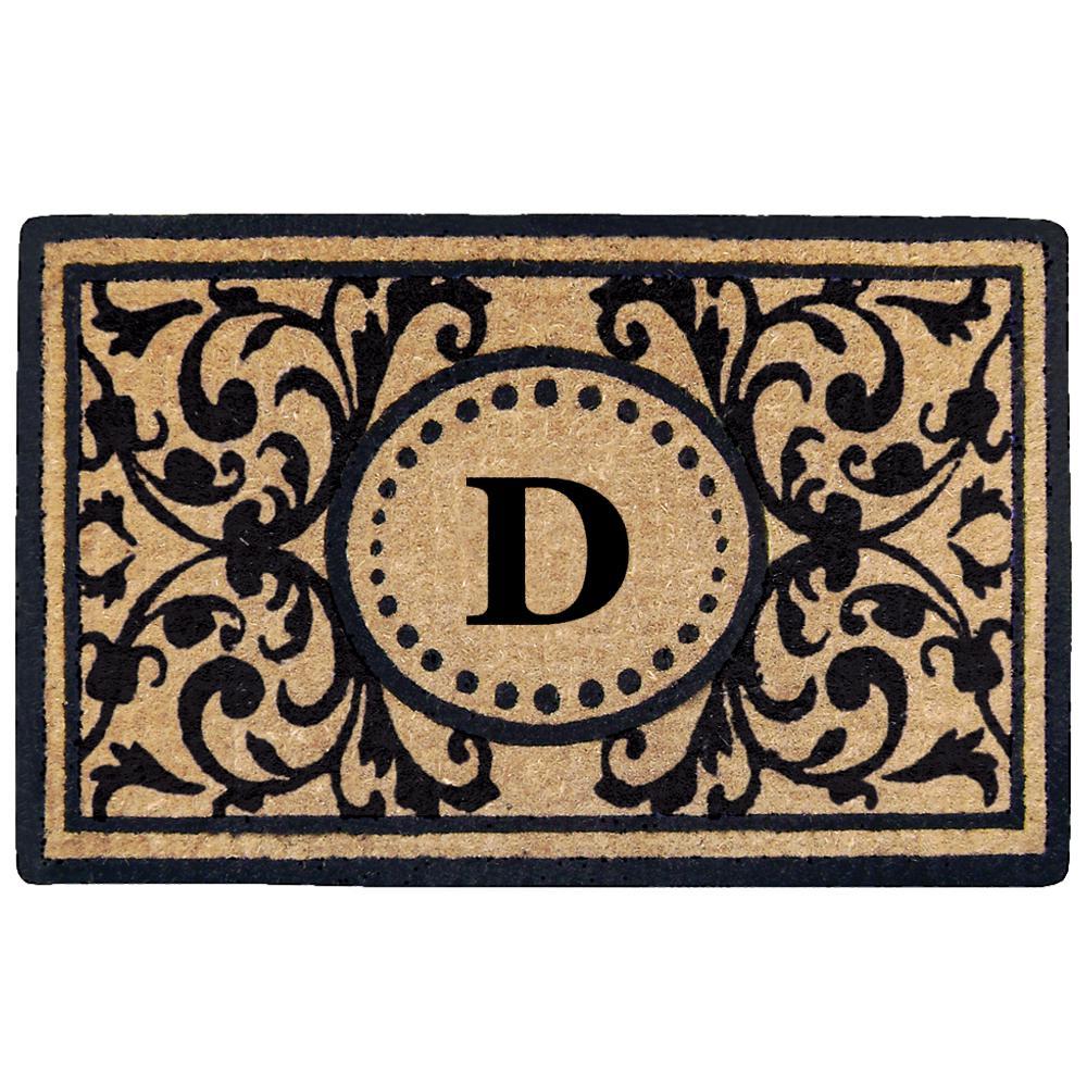Nedia Home Heritage 22 In. X 36 In. Heavy Duty Coir Monogrammed D Door Mat O2319D    The Home Depot