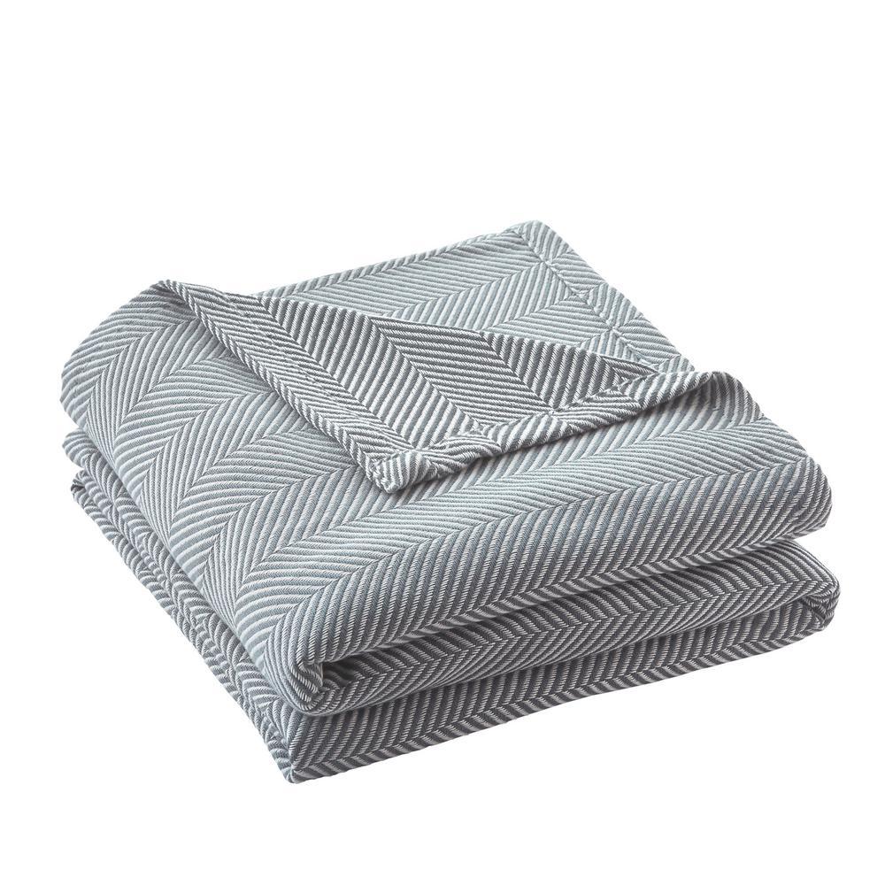 Cotton TENCEL Blend King Blanket in Steel Blue