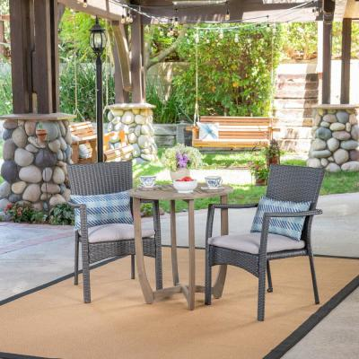 Noble House Sloane Gray 3-pc Wood and Wicker Outdoor Bistro Set w/ Gray Cushions