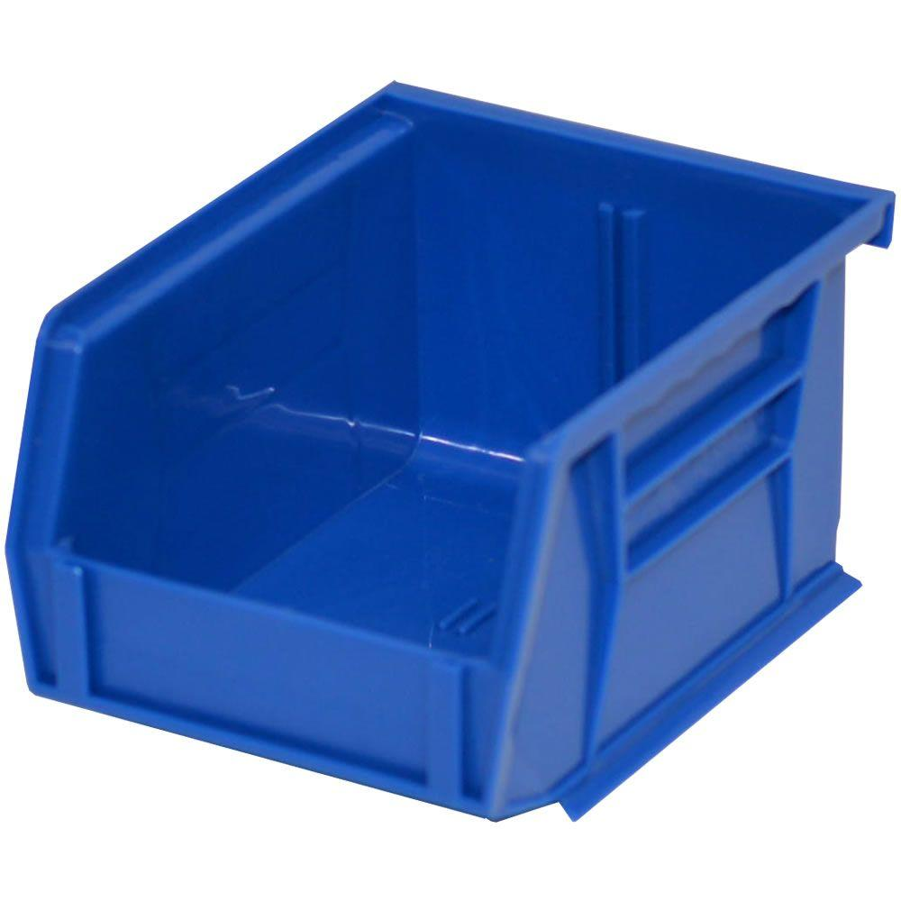 storage concepts 4 1 8 in w x 5 3 8 in d x 3 in h stackable plastic storage bin in blue 24. Black Bedroom Furniture Sets. Home Design Ideas
