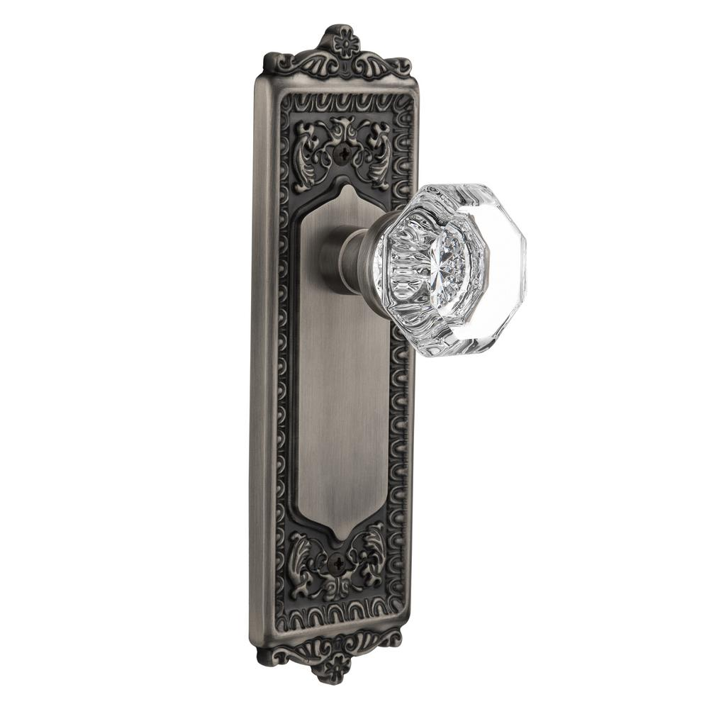 Nostalgic Warehouse Egg and Dart Plate 2-3/8 in. Backset Antique Pewter Privacy Waldorf Crystal Door Knob