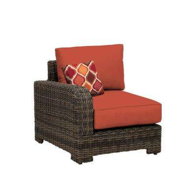 Northshore Left Arm Patio Sectional Chair with Cinnabar Cushion and Empire Chili Throw Pillow -- CUSTOM