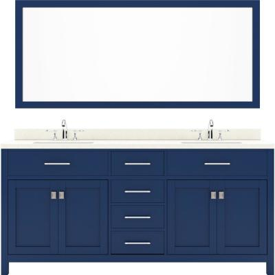 Virtu USA Caroline 72 in. W Bath Vanity in Blue with Quartz Vanity Top in White with White Basin and Mirror