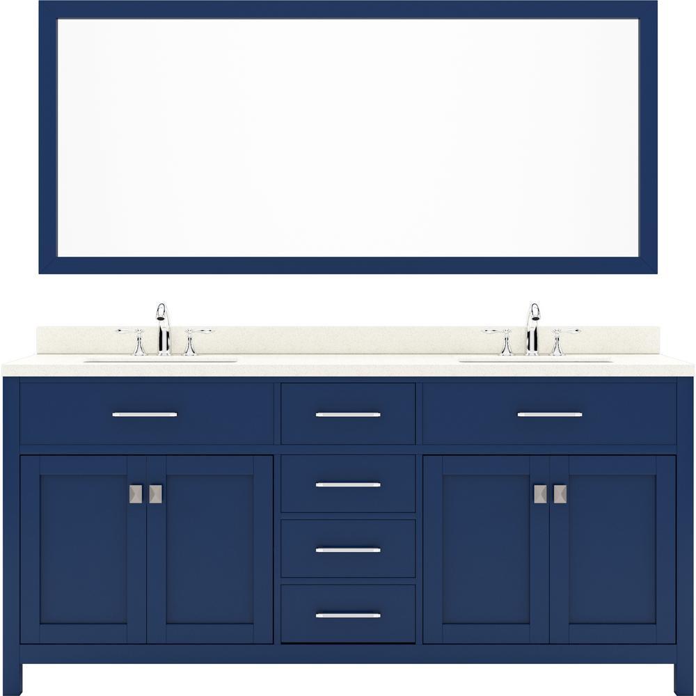 Virtu USA Caroline 72 in. W Bath Vanity in Blue with Quartz Vanity Top in White with White Basin