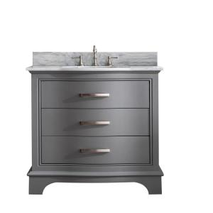 Monroe 36 in. W x 22 in. D Bath Vanity in Gray with Natural Marble Vanity Top in Carrara White with White Basin