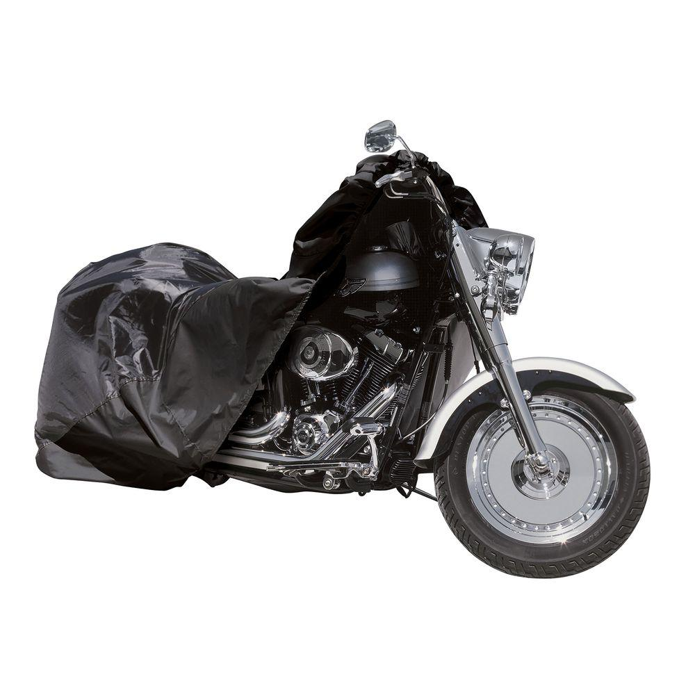 Raider SX Series Large Motorcycle Cover The Raider SX Series Covers are designed specifically for the truly demanding power sports enthusiasts seeking a reliable, high quality cover. With durable polyester construction that is weather and UV resistant and a 2-year warranty these covers are made to protect and last. A storage bag is included with each cover.