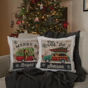 Heritage Lace Christmas Plaid Oyster Trailer Decorative Pillow by Heritage Lace