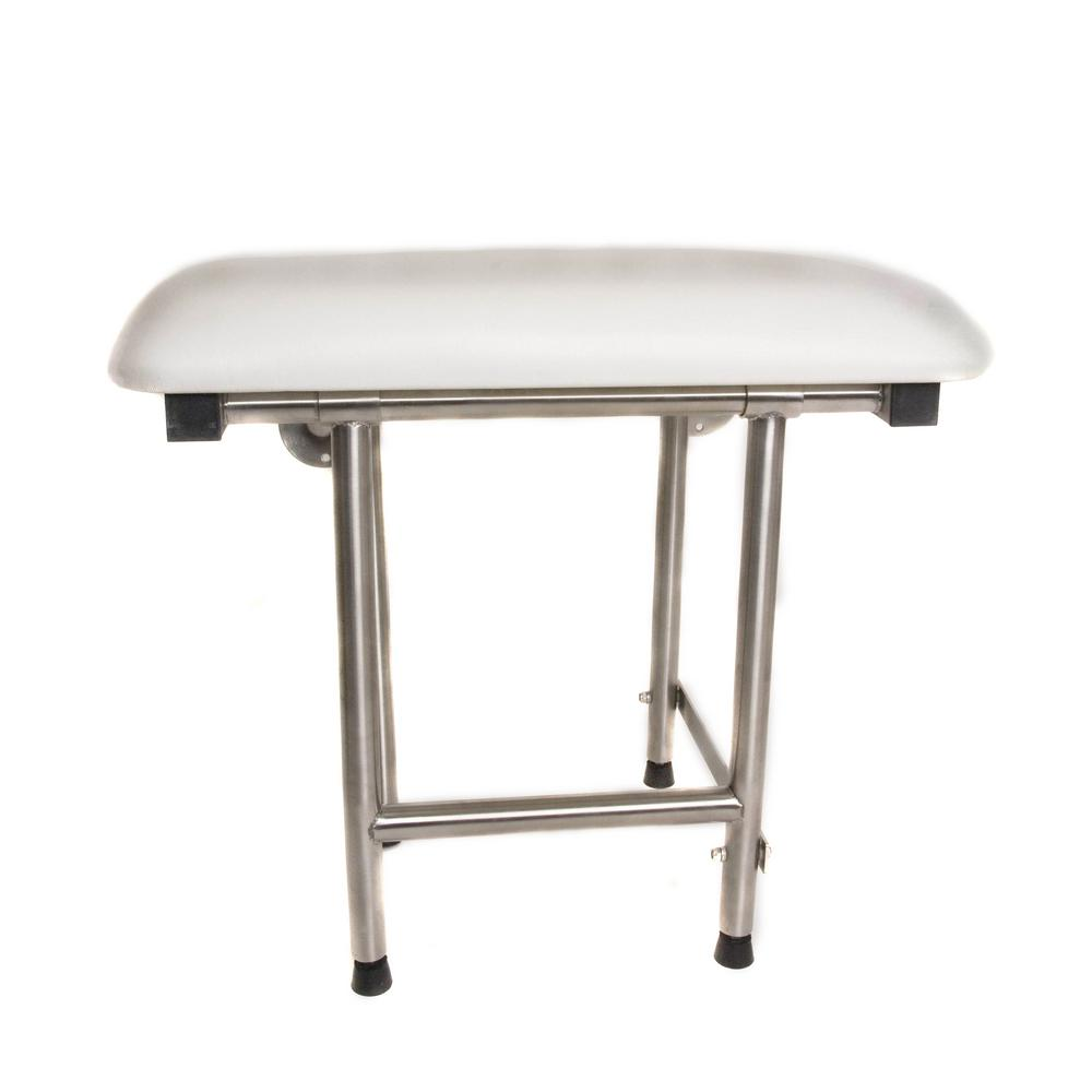 a3ab4a8898d Rectangular Padded Folding Shower Seat with Adjustable Legs in White and  Stainless Steel - ADA Compliant