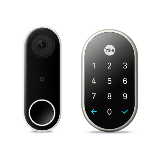 Nest Hello video doorbell and Nest x Yale Lock in Satin Nickel with Nest Connect