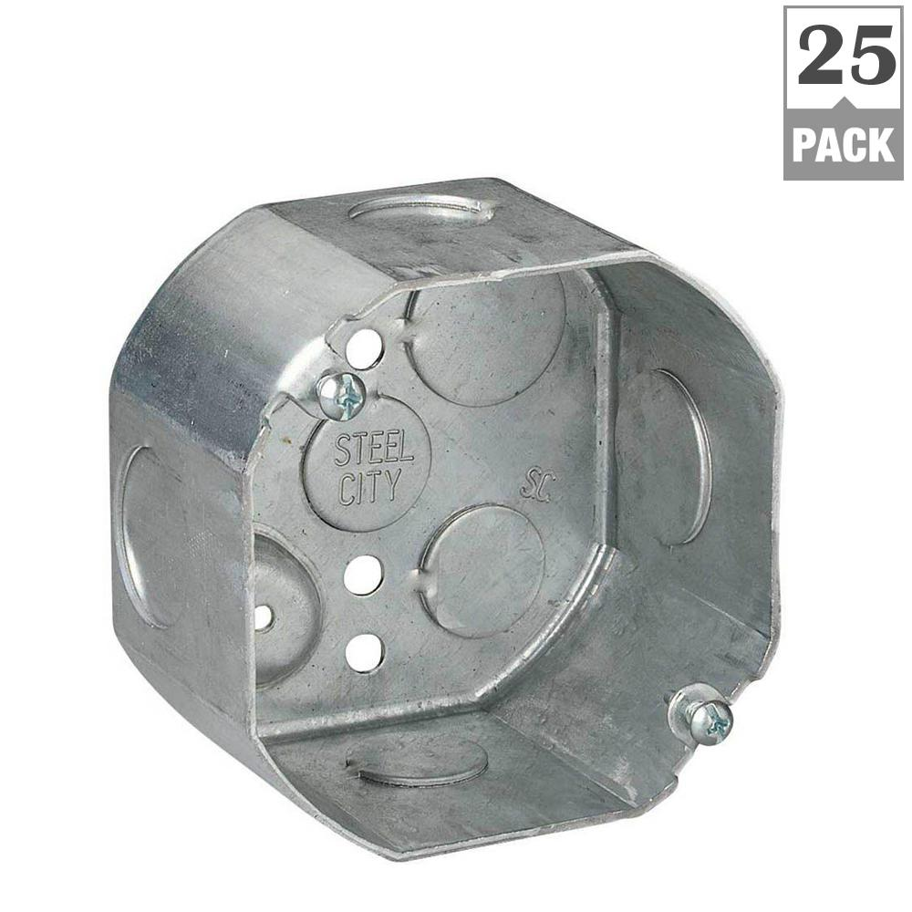 Steel City 1-Gang 4 in. 22.5 cu. in. New Work Pre-Galvanized Metal Octagon Electrical Box (Case of 25)