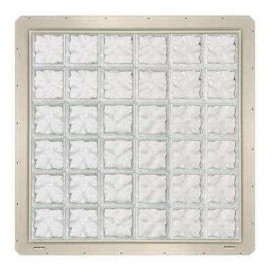 46.75 in. x 46.75 in. x 3.25 in. Wave Pattern Glass Block Window with Almond Colored Vinyl Nailing Fin
