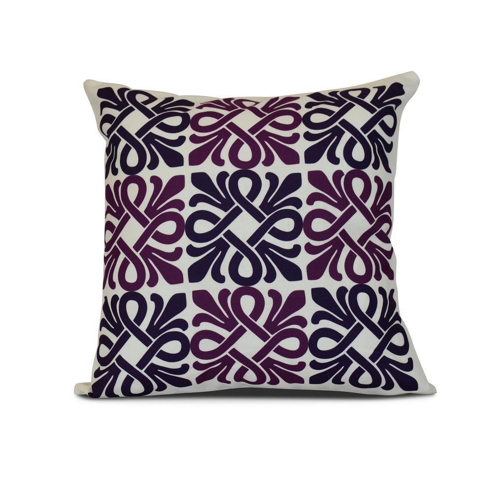 16 in. Purple Tiki Square Geometric Print Pillow