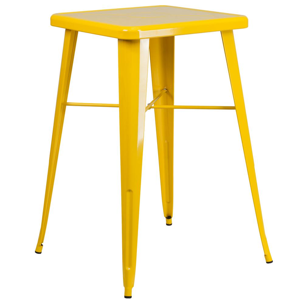 Yellow Square Metal Outdoor Bistro Table