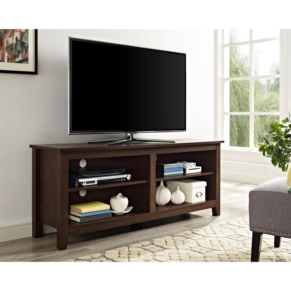 Walker Edison Furniture Company 58 in. Wood TV Media Stand Storage Console - Traditional Brown