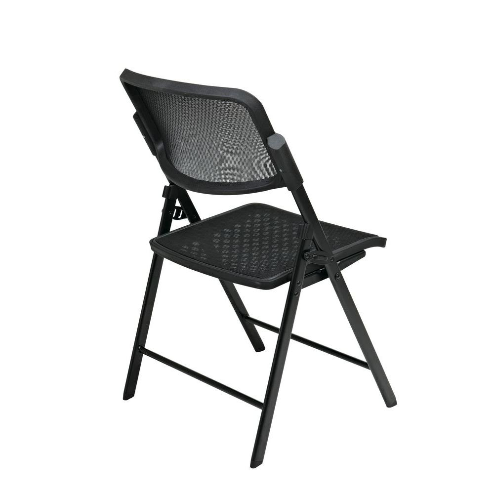 Office Star Products Black Plastic Seat Stackable Folding Chair (Set of 2)