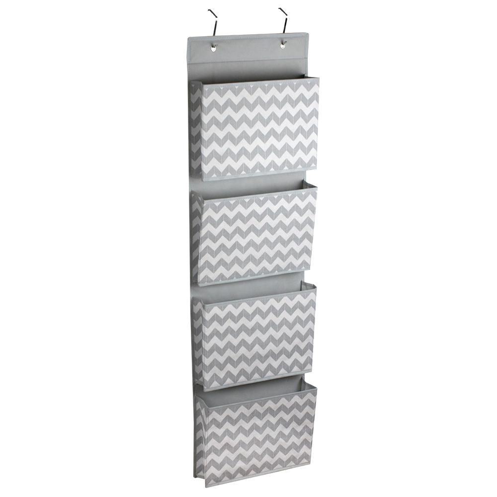 Chevron Over-The-Door Hanging File Organizer, Grey and White