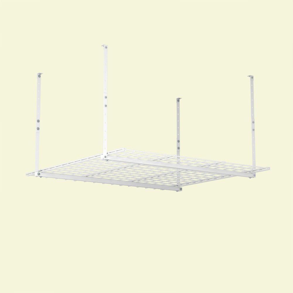 HyLoft 45 in. W x 45 in. D Garage Ceiling Mount Storage Unit in White