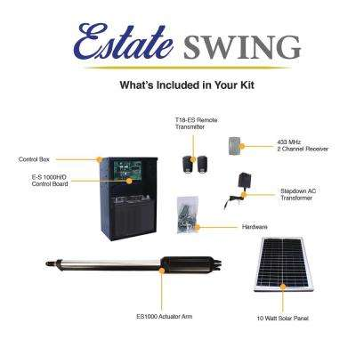 Single Swing Automatic Gate Opener Kit with 10-Watt Solar Panel