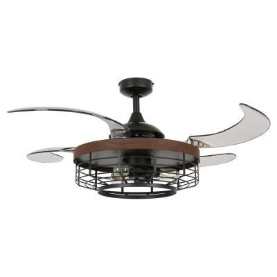 Montclair 48 in. Black with Koa Trim AC Ceiling Fan with Light
