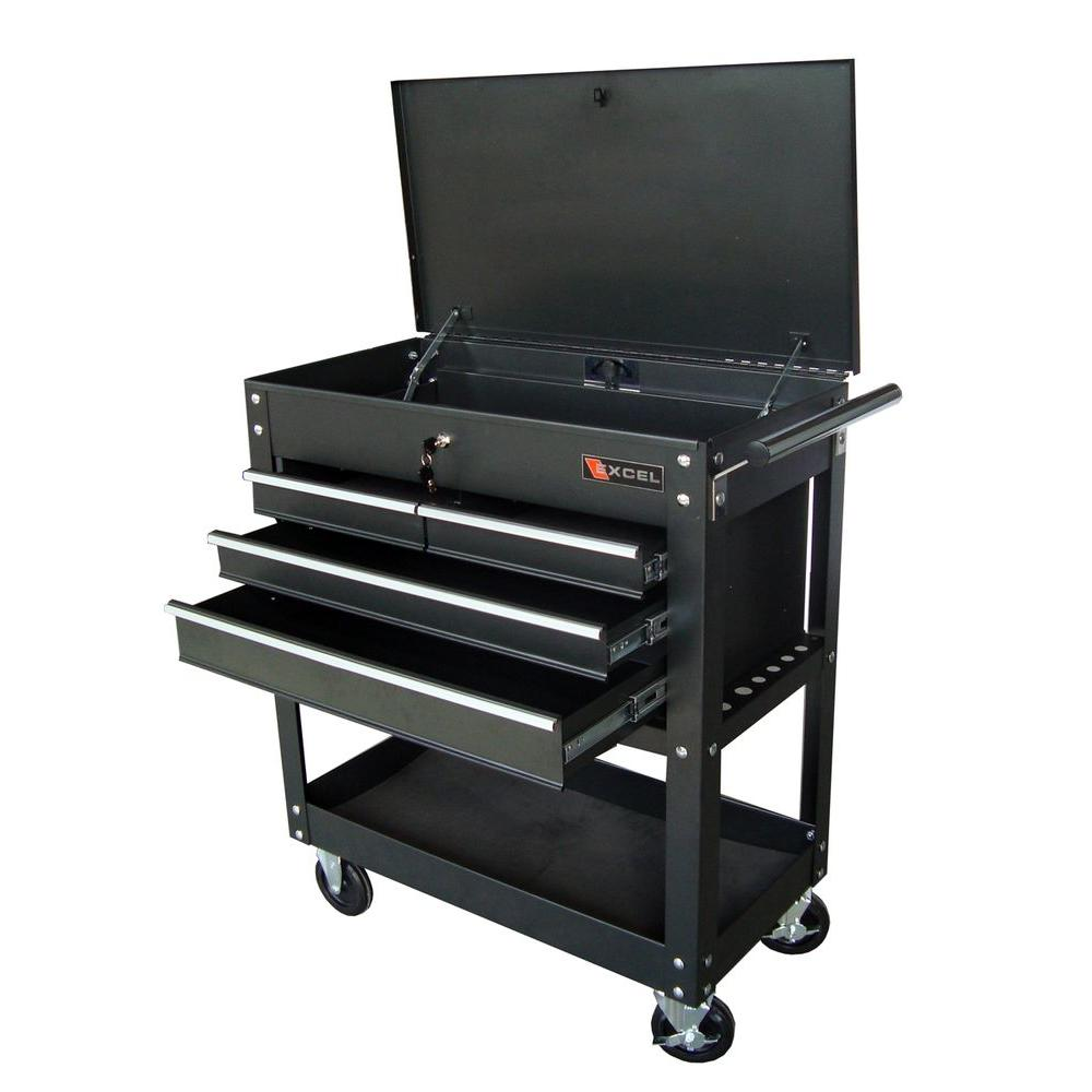Excel Steel Tool Cart, Black, 33.5in. W x 17.5in. D x 38.3in. H, Each