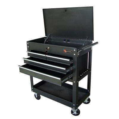 Steel Tool Cart, Black, 33.5in. W x 17.5in. D x 38.3in. H, Each