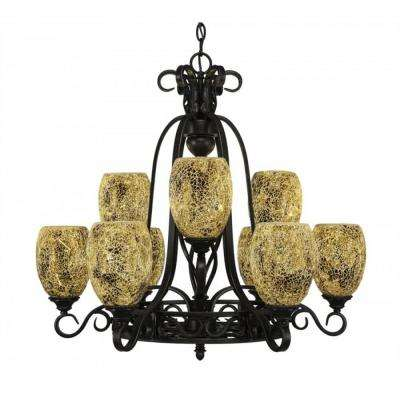 9-Light Dark Granite Chandelier with Gold Fusion Glass Shade
