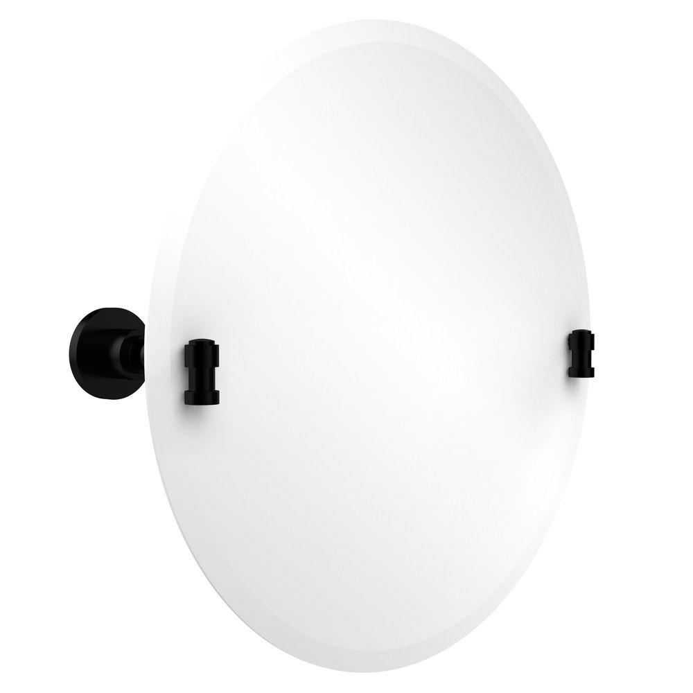Allied Brass Washington Square Collection 22 in. x 22 in. Frameless Round Single Tilt Mirror with Beveled Edge in Matte Black