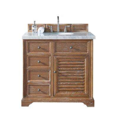 Savannah 36 in. W Single Vanity in Driftwood with Marble Vanity Top in Carrara White with White Basin