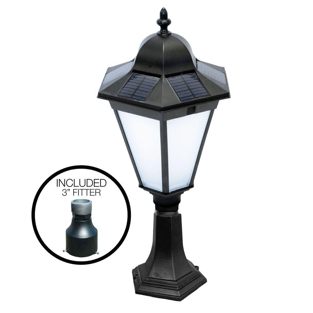 Nature Power Essex 21 in. Black Outdoor Solar Powered Lamp with 3 in. Pole Fitter and Deck Mount