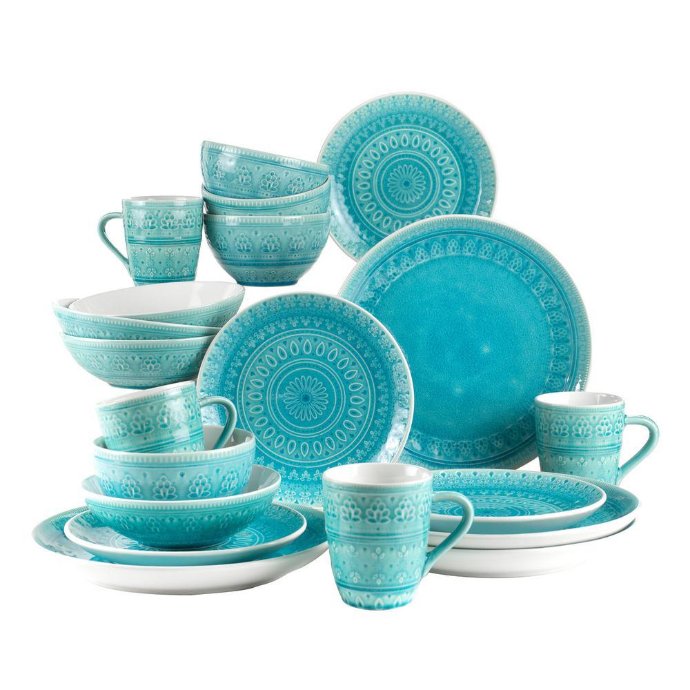 Fez 20-Piece Crackle-Glaze Turquoise Stoneware Dinnerware Set, Service for 4