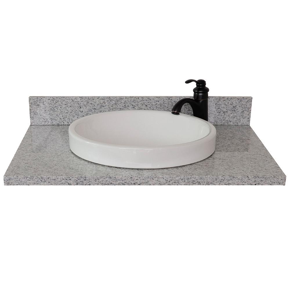Ragusa III 31 in. W x 22 in. D Granite Single Basin Vanity Top in Gray with White Round Basin